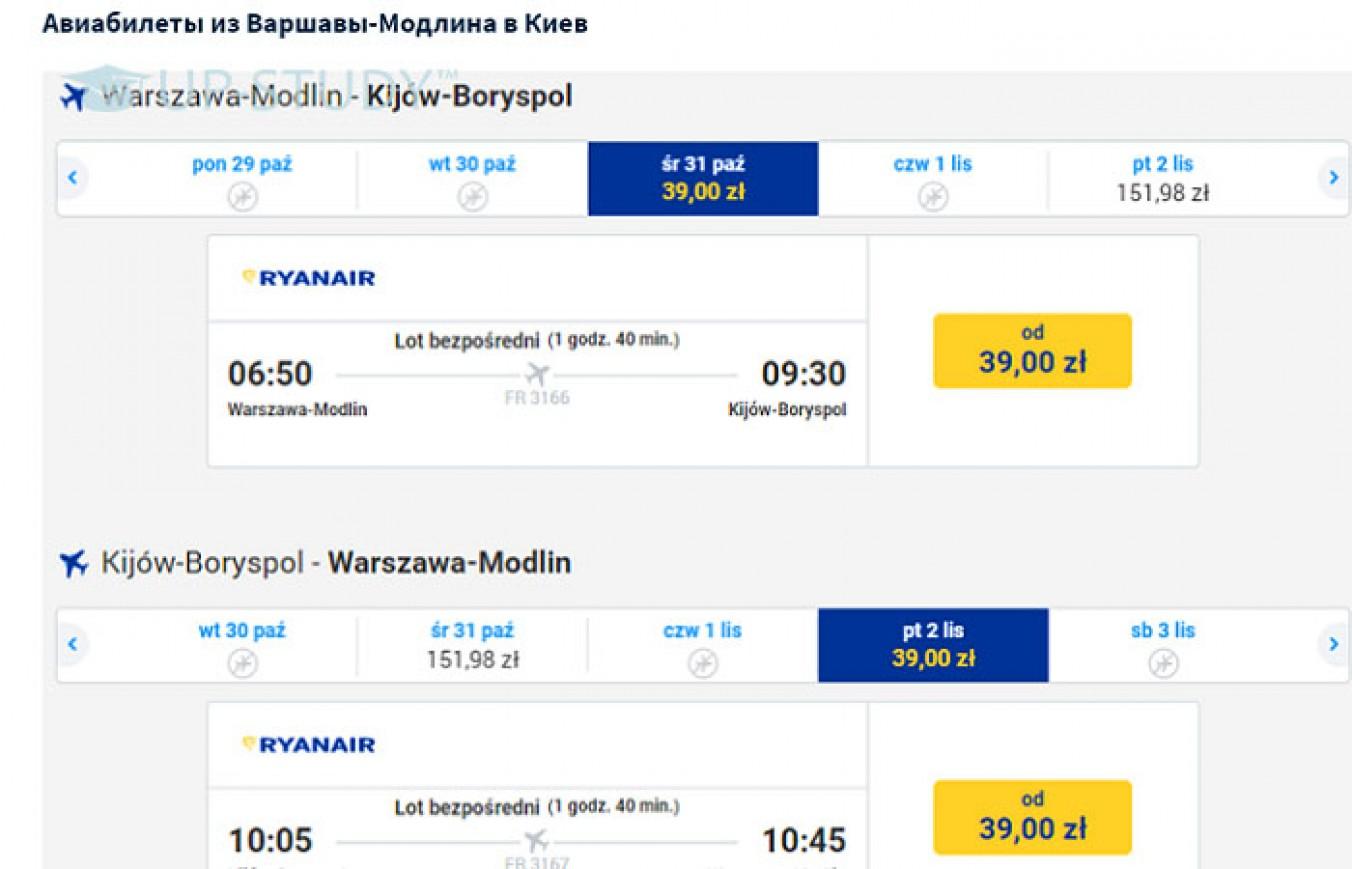 Умови перельотів з України до Польщі з Ryanair